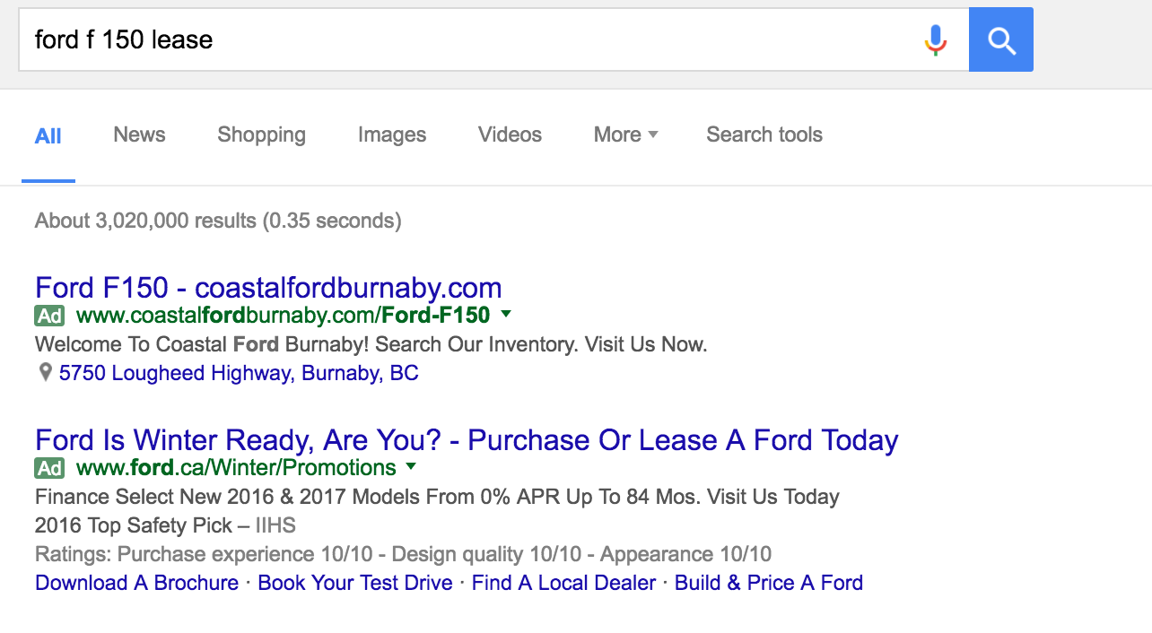 The customer is looking for an F150 lease. If the ad copy contains the keywords they are more likely to cook.